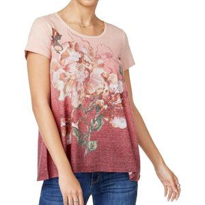 Style & Co Embellished Floral Graphic T-Shirt